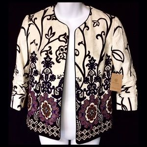 Coldwater Creek Cream Purple Print Blazer Jacket
